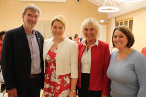 OV-Vorsitzender Peter König, Fanziska Giffey, Bürgermeisterin Gabriele Müller und Zweite Bürgermeisterin KAtharina Dworzak